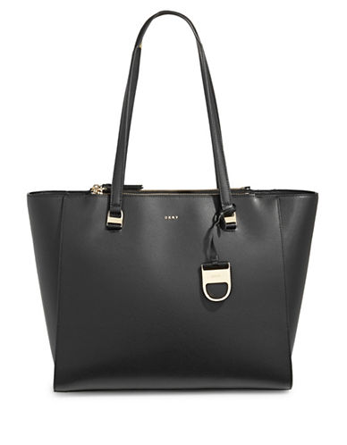 Dkny Double Zip Leather Tote-BLACK-One Size