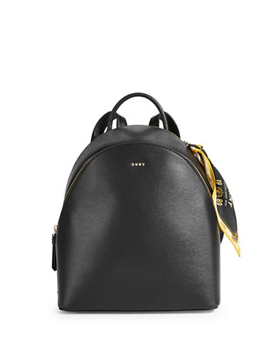Dkny Scarf Leather Backpack-BLACK-One Size