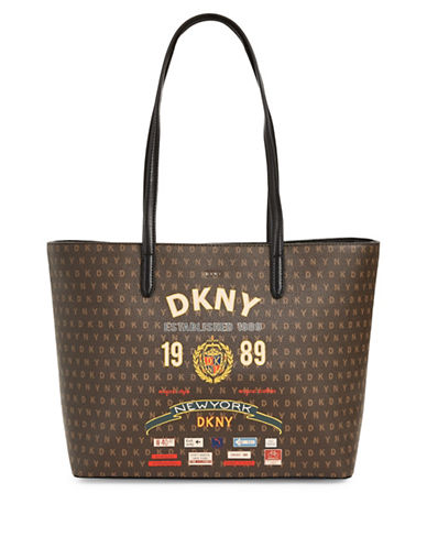 Dkny Textured Logo Tote-BLACK-One Size