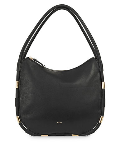 Dkny Medium Zip Leather Hobo Bag-BLACK-One Size
