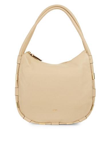 Dkny Medium Zip Leather Hobo Bag-EGG NOG-One Size