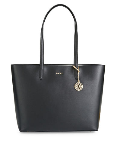 Dkny Large Leather Logo Tote-BLACK-One Size