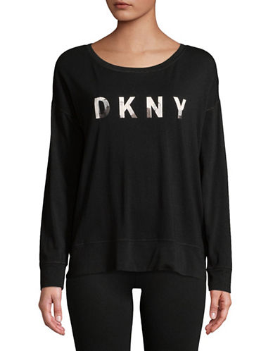 Dkny Long-Sleeve Logo Tee-BLACK-Medium