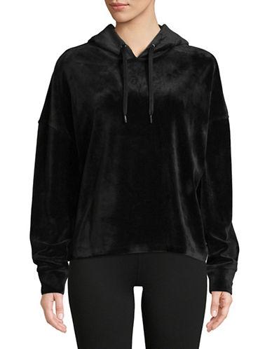 Dkny Cropped Velvet Hoodie-BLACK-Small 89678469_BLACK_Small