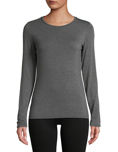 Dkny Long-Sleeve Crew Neck Tee-GREY-X-Small