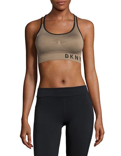 Dkny Active Sports Bra-KHAKI-Medium
