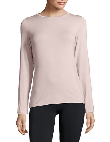 Dkny Long-Sleeve Crew Neck Tee-PINK-Small
