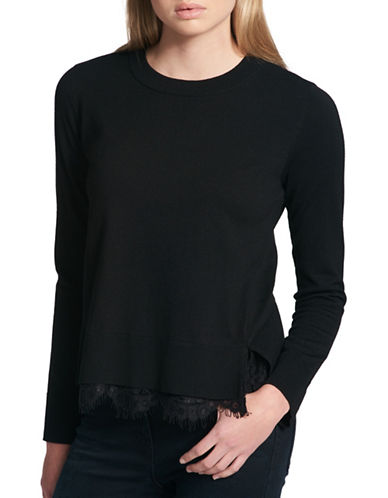 Dkny Lace Side-Slit Sweater-BLACK-Medium