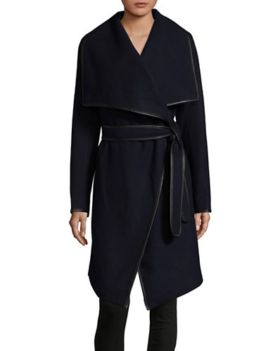 Dkny Shawl Collar Knee-Length Coat-NAVY-X-Large