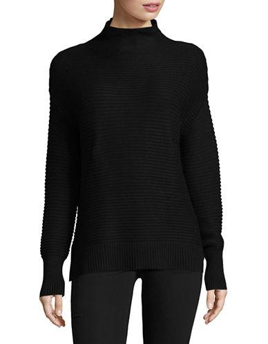Dkny Mock Neck Rib Sweater-BLACK-X-Small 89604140_BLACK_X-Small
