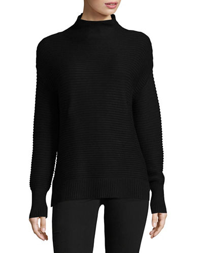 Dkny Mock Neck Rib Sweater-BLACK-Medium