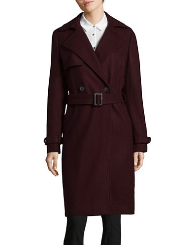 Dkny Luxe Melton Trench Coat-WINE-10