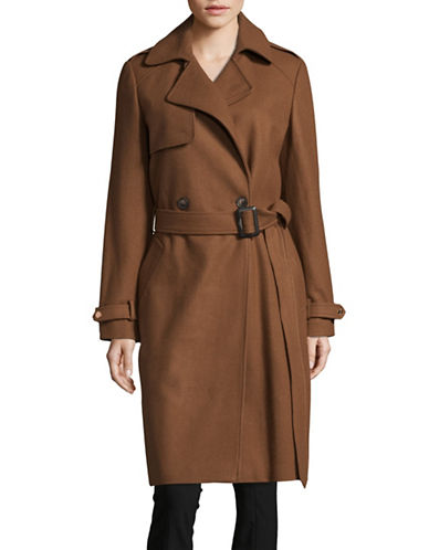 Dkny Luxe Melton Trench Coat-VICUNA-16
