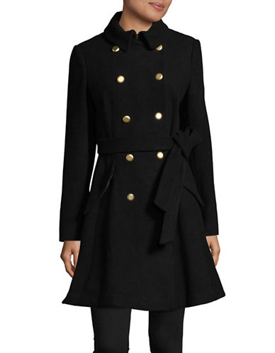 Dkny Skirted Double Breasted Trench Coat-BLACK-6