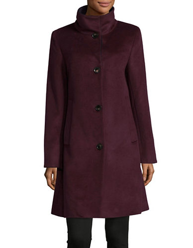 Dkny Aline Stand Collar Coat-WINE-Medium
