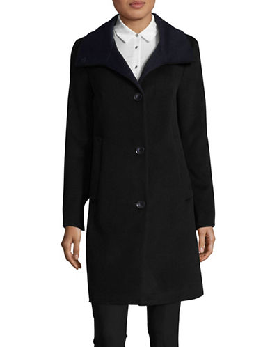 Dkny Aline Stand Collar Coat-BLACK-Medium