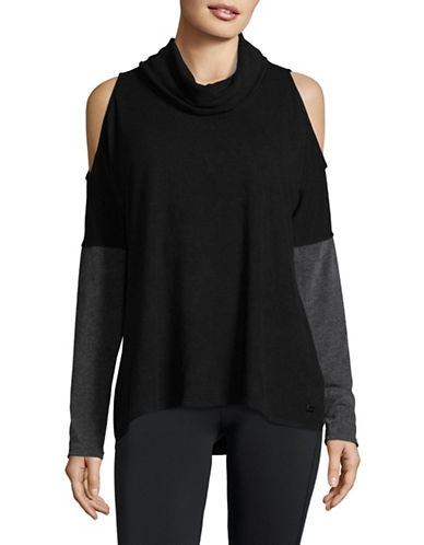 Dkny Draped Cold Shoulder Pullover-BLACK-X-Large 89604129_BLACK_X-Large