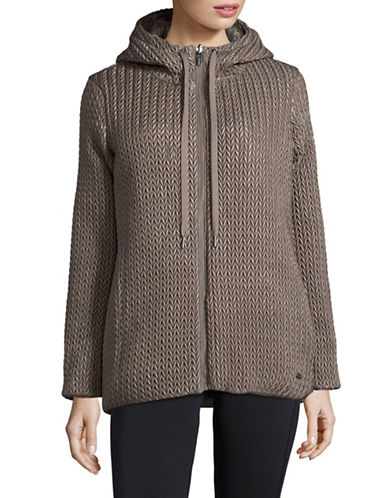 Dkny Reversible Quilted & Knit Down Coat-KHAKI-Small