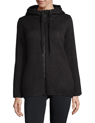 Dkny Reversible Quilted & Knit Down Coat-BLACK-Large