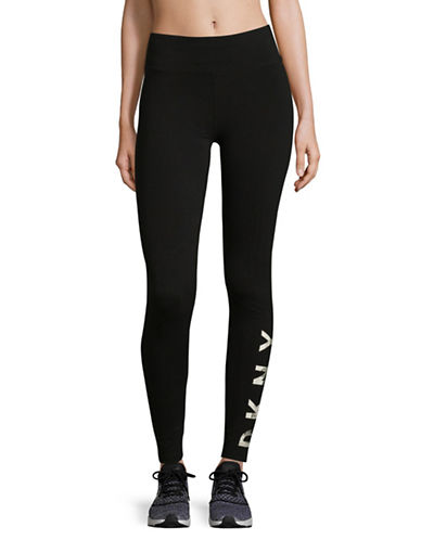 Dkny Fleece Logo Leggings-BLACK-Large 89652175_BLACK_Large