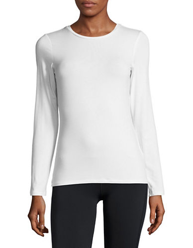 Dkny Long-Sleeve Crew Neck Tee-WHITE-Medium