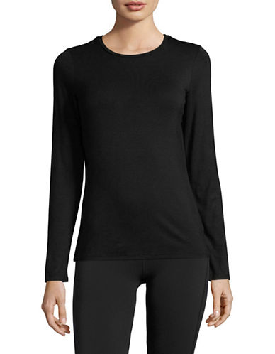 Dkny Long-Sleeve Crew Neck Tee-BLACK-X-Large