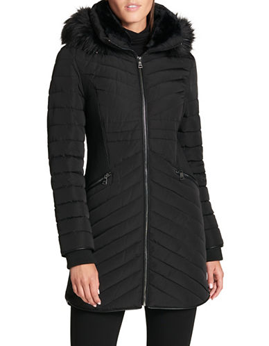 Dkny Quilted Parka with Faux Fur Trim-BLACK-X-Large