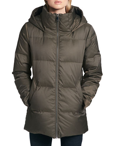 Dkny Down Puffer Hooded Jacket-OLIVE-Medium