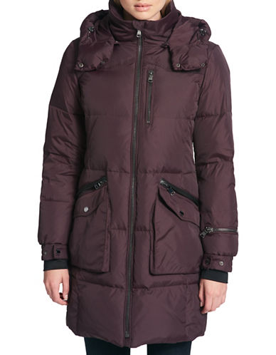 Dkny Faux Fur Trimmed Down Puffer Parka-AUBERGINE-Medium