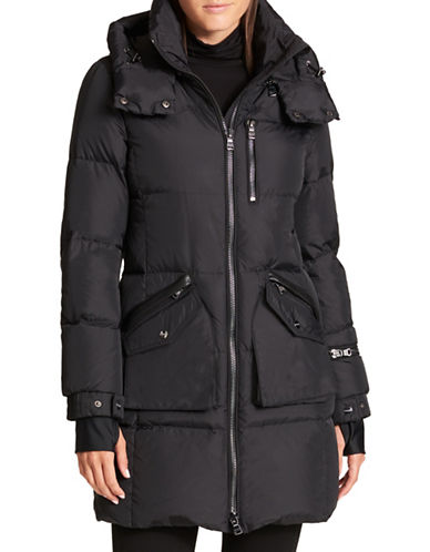 Dkny Faux Fur Trimmed Down Puffer Parka-BLACK-Large