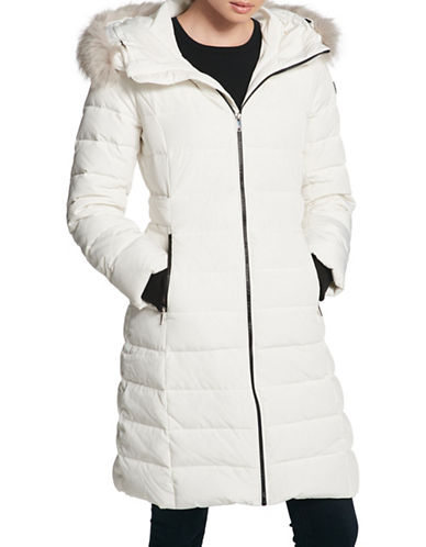 Dkny Faux Fur Trimmed Down Puffer Jacket-IVORY-Small