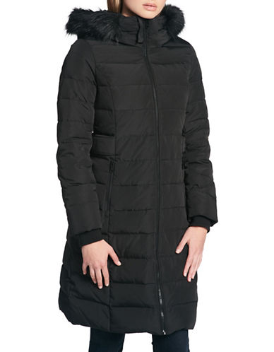 Dkny Faux Fur Trimmed Down Puffer Jacket-BLACK-Small