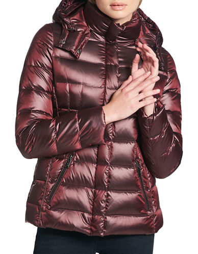 Dkny Hooded Puffer Jacket-WINE-Large