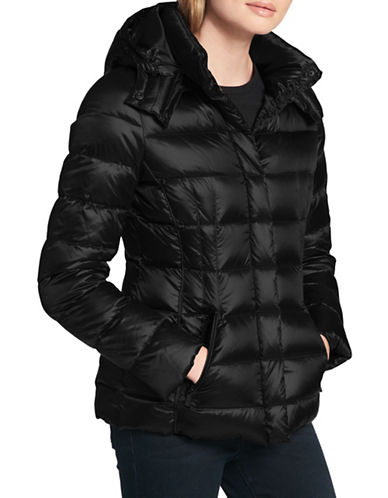 Dkny Hooded Puffer Jacket-BLACK-Large