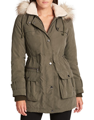 Dkny Faux Fur Trim Parka-OLIVE-Large