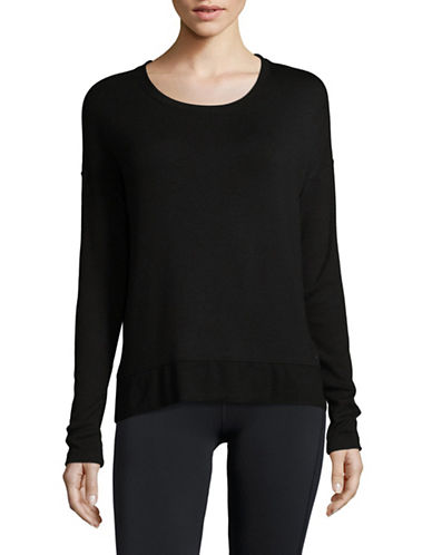 Dkny Keyhole Pullover Top-BLACK-Large