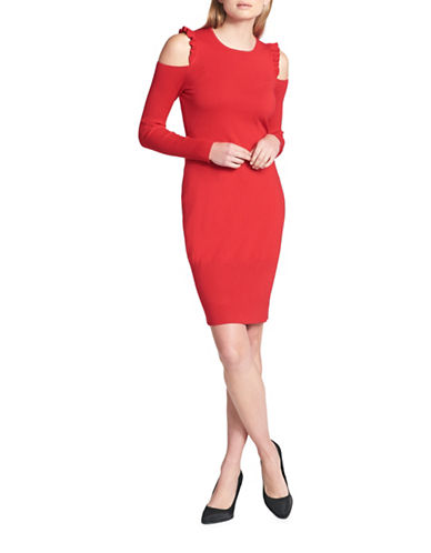 Dkny Ruffle Cold-Shoulder Sheath Dress-RED-X-Large