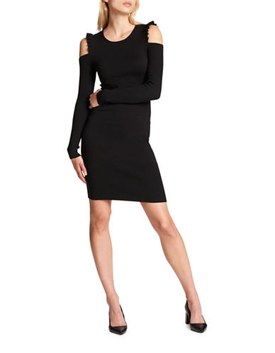Dkny Ruffle Cold-Shoulder Sheath Dress-BLACK-Large