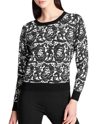 Dkny Lace Print Long-Sleeve Sweater-BLACK-X-Large