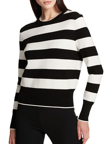 Dkny Striped Long-Sleeve Sweater-BLACK-Medium