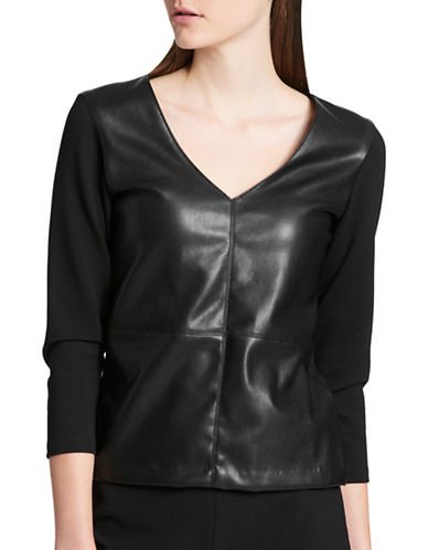 Dkny Mixed Media V-Neck Top-BLACK-X-Small