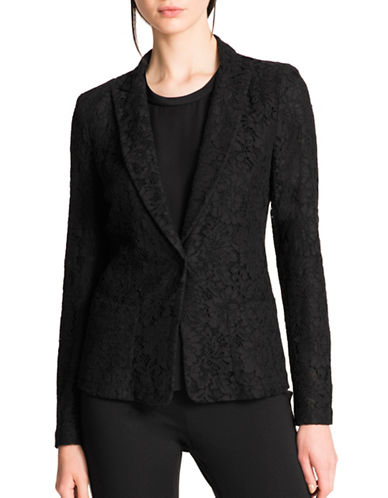 Dkny Lace Single-Button Blazer-BLACK-2