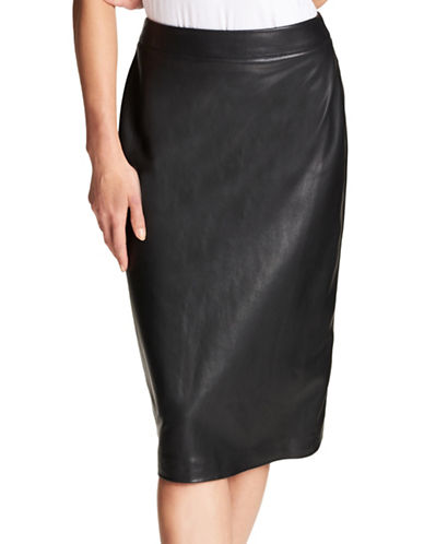 Dkny Faux Leather Midi Pencil Skirt-BLACK-2