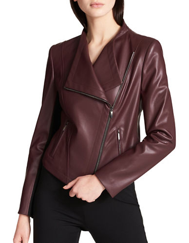 Dkny Faux Leather Jacket-PURPLE-X-Large