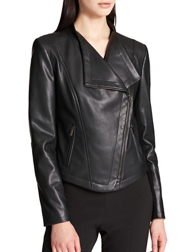 Dkny Faux Leather Jacket-BLACK-X-Large
