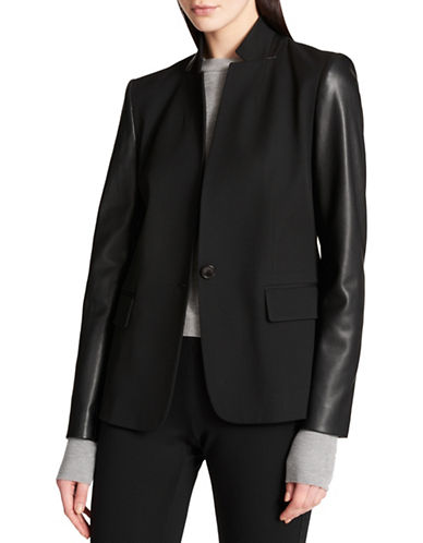 Dkny Button-Front Mixed Media Jacket-BLACK-X-Small