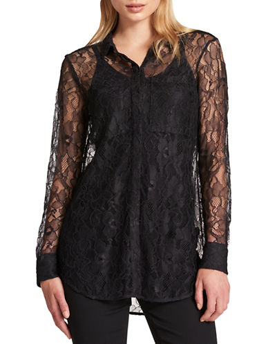 Dkny Lace Button-Down Top-BLACK-X-Large