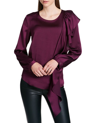 Dkny Ruffled Front Blouse-PURPLE-Large