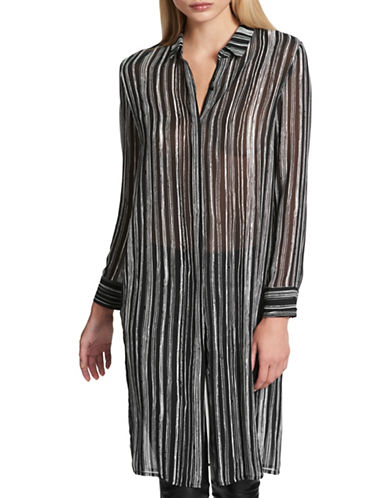 Dkny Striped Button-Down Tunic-BLACK-Medium