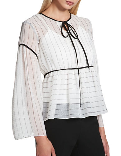 Dkny Long Sleeve Fluted Peasant Top-STRIPE-Large